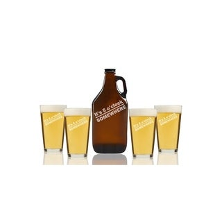 It's Five O'Clock Somewhere Beer Amber Growler and Pint Glasses (Set of 5)