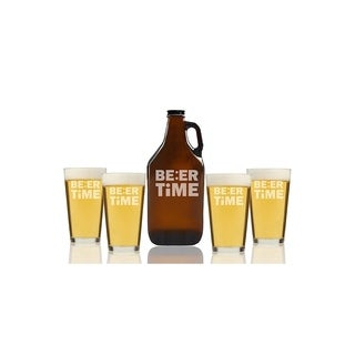 Beer Time Beer Amber Growler and Pint Glasses (Set of 5)
