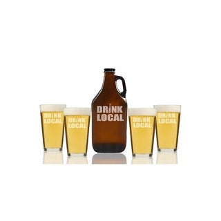 Drink Local Beer Amber Growler and Pint Glasses (Set of 5)