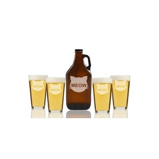 Cats Meow Beer Amber Growler and Pint Glasses (Set of 5)