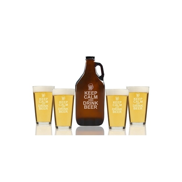 Keep Calm and Drink Beer Beer Amber Growler and Pint Glasses (Set of 5)