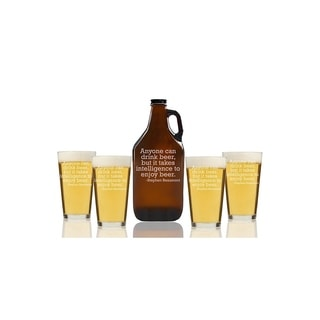 Anyone Can Drink Beer But It Takes Intelligence To Enjoy Beer Beer Amber Growler and Pint Glasses (Set of 5)