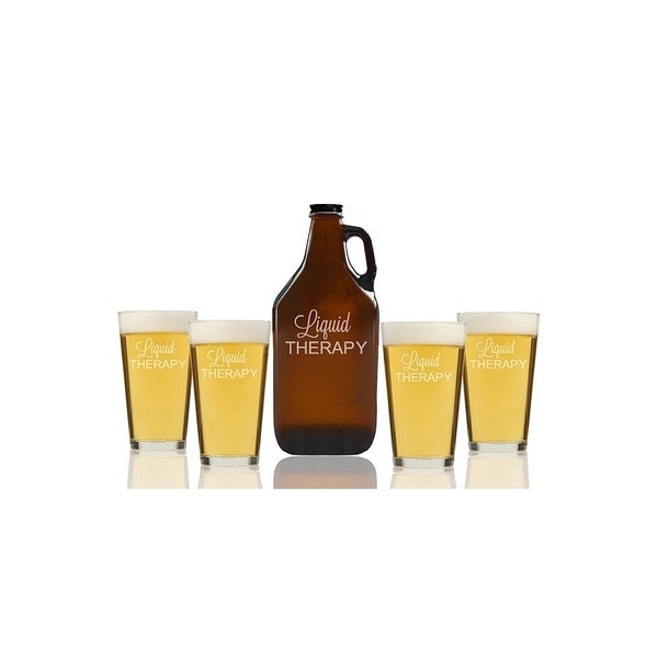Liquid Therapy Beer Amber Growler and Pint Glasses (Set of 5)