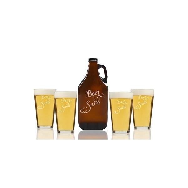 Beer Snob Fancy Beer Amber Growler and Pint Glasses (Set of 5)
