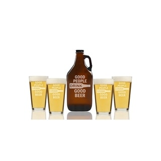 Good People Drink Good Beer Beer Amber Growler and Pint Glasses (Set of 5)