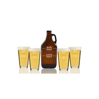 Bad Idea Good Idea Beer Amber Growler and Pint Glasses (Set of 5)