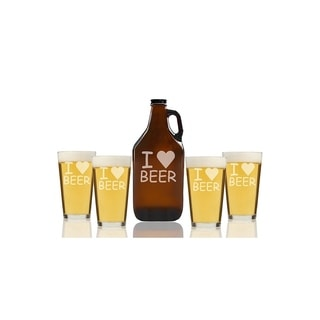 I Love Beer Beer Amber Growler and Pint Glasses (Set of 5)