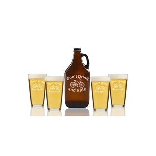Don't Drink and Ride Beer Amber Growler and Pint Glasses (Set of 5)
