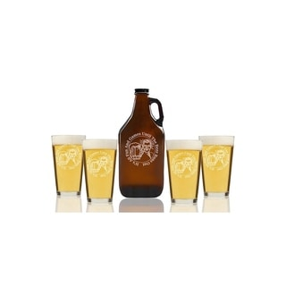 All Fun and Games Until Beer Runs Out Beer Amber Growler and Pint Glasses (Set of 5)