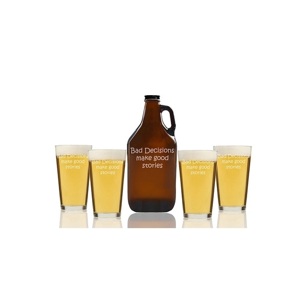 Bad Decisions Make Good Stories Beer Amber Growler and Pint Glasses (Set of 5)