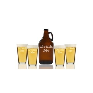 Drink Me Beer Amber Growler and Pint Glasses (Set of 5)