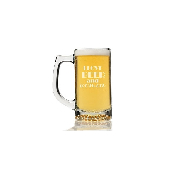I Love Beer and Women Beer Mug (Set of 4)