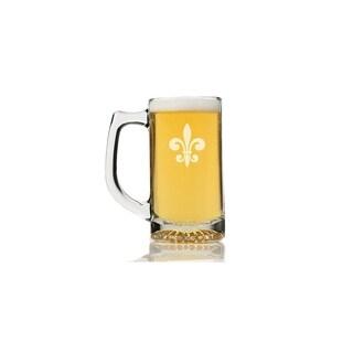 Fleur de Lis Glass Beer Mug (Set of 4)