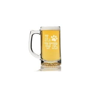 Love Ornate Paw Glass Beer Mug (Set of 4)