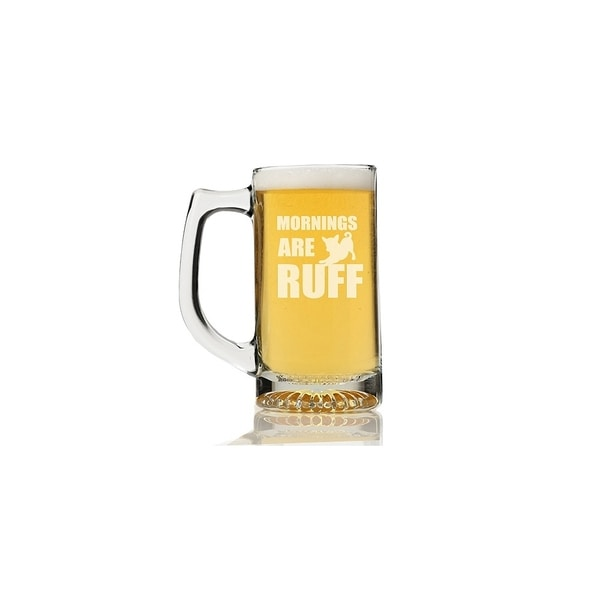 Mornings are Ruff Glass Beer Mug (Set of 4)