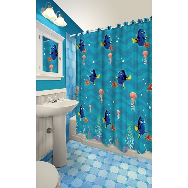 Finding Dory Themed Printed Shower Curtain with Hooks