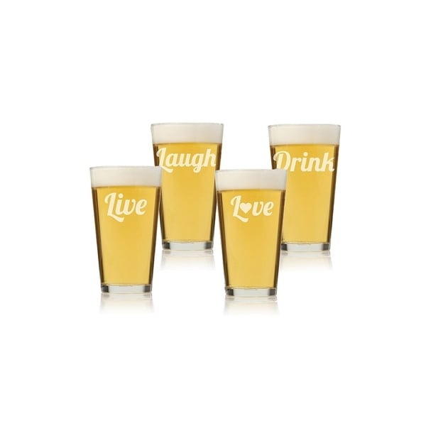 Live, Laugh, Love, Drink Tall Pint Glass (Set of 4)