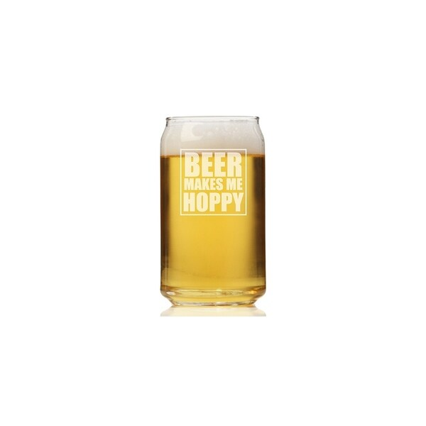 Beer Makes Me Hoppy Can Glass (Set of 4)