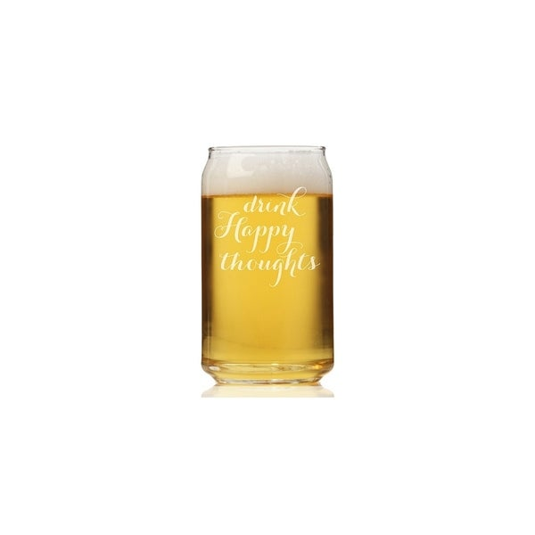 Drink Happy Thoughts Can Glass (Set of 4)