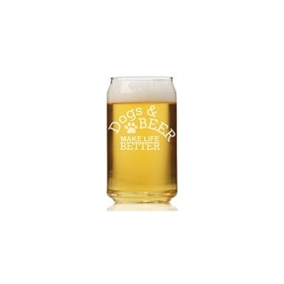 Dogs And Beer Make Life Better Can Glass (Set of 4)