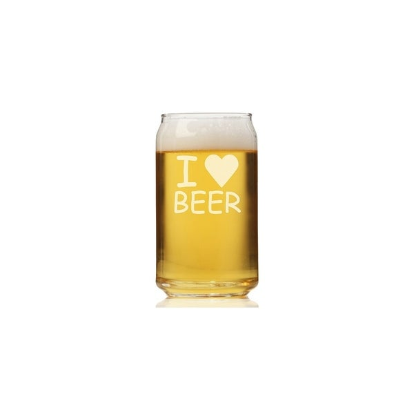 I Love Beer Can Glass (Set of 4)