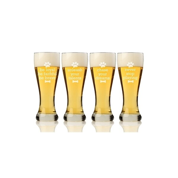 Dog Wisdom Pilsner Beer Glass (Set of 4)