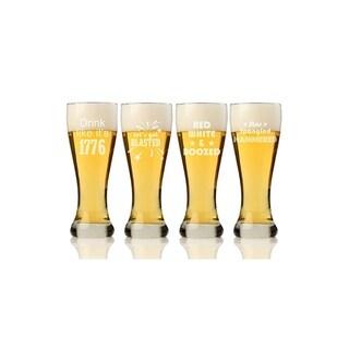 Happy 4th Pilsner Beer Glass (Set of 4)