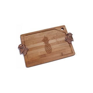 Pineapple Bamboo Cutting Board with Copper Grapes Design Handle