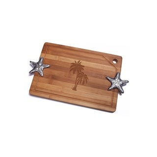 Palm Tree Bamboo Cutting Board with Silver Stafish Design Handle