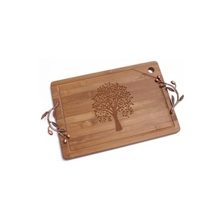 Tree of Life Bamboo Cutting Board with Copper Branch Design Handle
