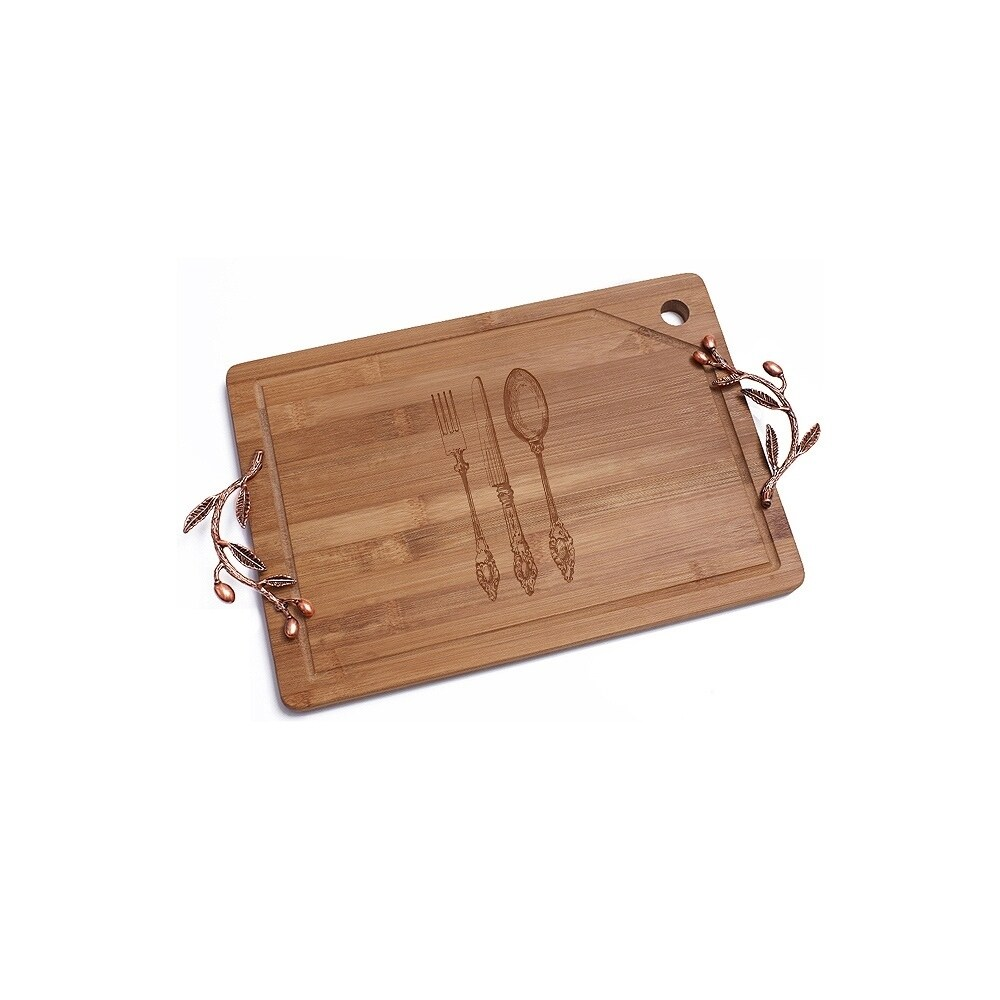 Madison Vintage Silverware Bamboo Cutting Board with Copp...