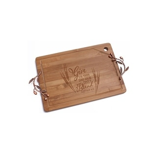 Daily Bread Bamboo Cutting Board with Copper Branch Design Handle