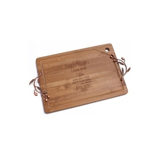 I Cook with Wine Bamboo Cutting Board with Copper Branch Design Handle