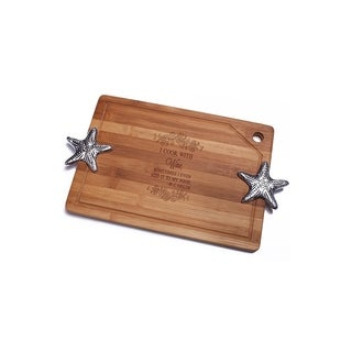 I Cook with Wine Bamboo Cutting Board with Silver Starfish Design Handle