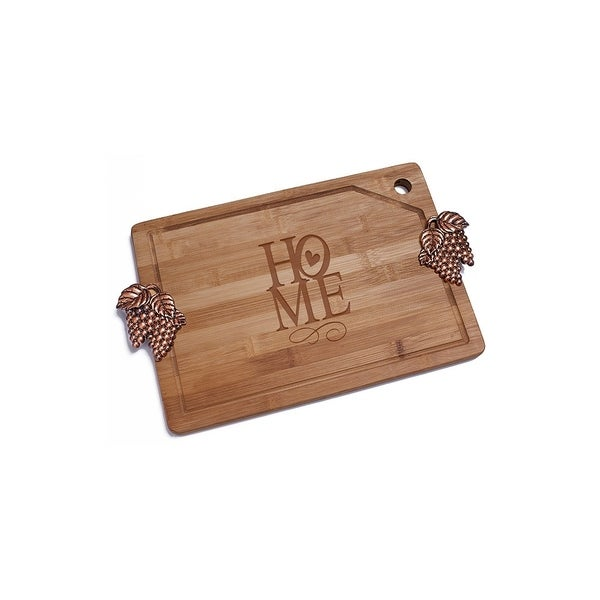 home with love bamboo cutting board with copper grapes design handle