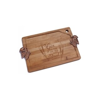 Daily Bread Bamboo Cutting Board with Copper Grapes Design Handle