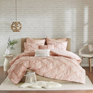 Urban Habitat Callie Pink Embroidered 7-piece Duvet Cover Set With Pintuck Detailing