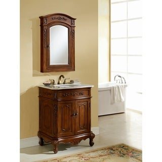 Heritage Milan Teak Bathroom Vanity with Natural Marble Countertop