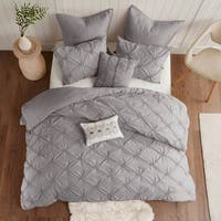 Urban Habitat Callie Grey Embroidered 7-piece Duvet Cover Set With Pintuck Detailing