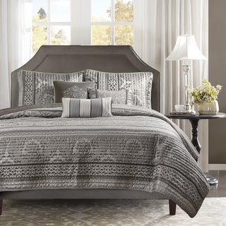 Madison Park Venetian Grey Jacquard 6-piece Quilted Coverlet Set