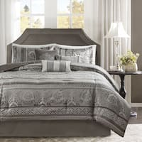 Madison Park Venetian Grey Jacquard 7-piece Comforter Set