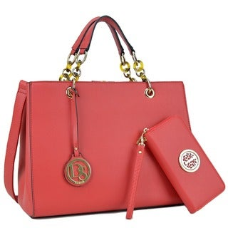 Dasein Faux Saffiano Leather Chain Strap Satchel Handbag with Matching Wallet (More options available)