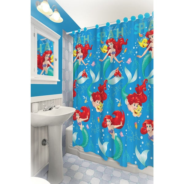 The Little Mermaid Themed Printed Shower Curtain with Hooks