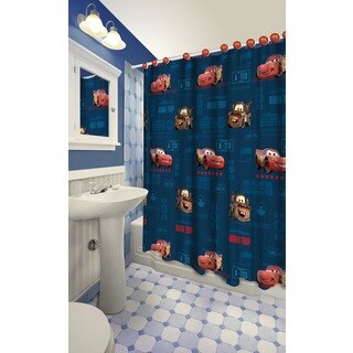 Disney Cars Themed Printed Shower Curtain with Hooks