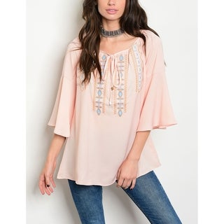 JED Women's Frilly Sleeve Embroidered Light Pink Blouse
