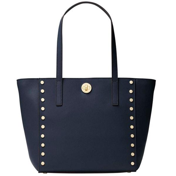 c5ce6b7188de2c Shop Michael Kors Rivington Admiral Blue Studded Tote Bag - On Sale ...