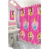 Disney Princess Themed Printed Shower Curtain with Hooks
