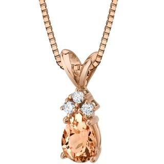 Oravo 14 Karat Rose Gold Pear Shape 0.50 Carats Morganite Diamond Pendant - peach