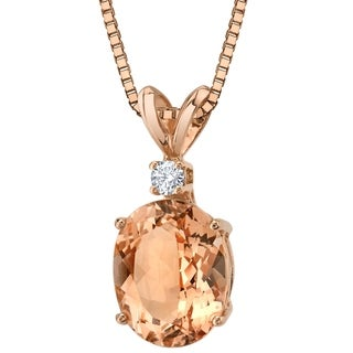 Oravo 14 Karat Rose Gold Oval Shape 2.00 Carats Morganite Diamond Pendant - peach