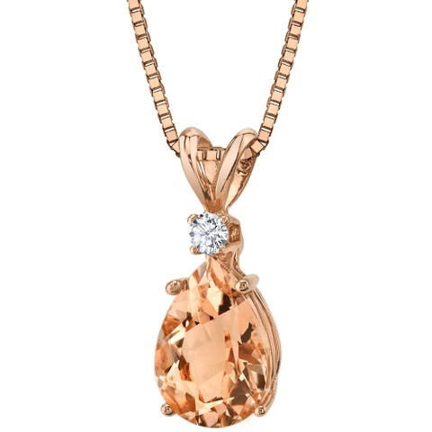 Oravo 14 Karat Rose Gold Pear Shape 1.50 Carats Morganite Diamond Pendant - peach